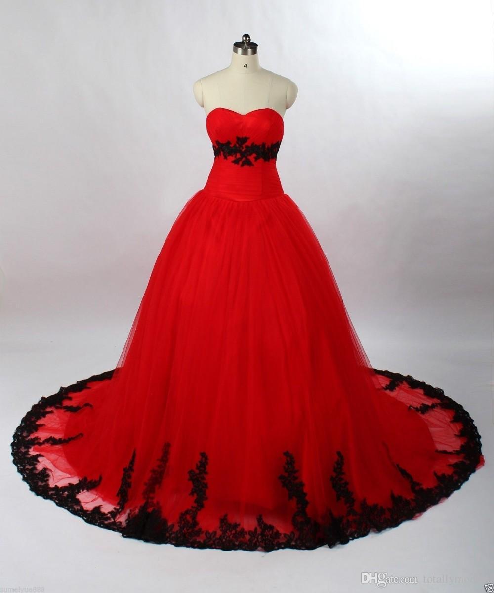 Abito da ballo nero e rosso Gothic Abiti da sposa gotica Sweetheart Lace Appliques anni '60 Abiti da sposa colorati colorati con colore non bianco lace-up