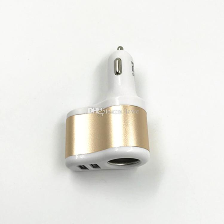 Car cigarette lighter 100w with Car USB Charger Aluminum Cycle 5V 3A 2 USB Dual port Car Adaptor free shiipping