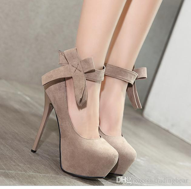 8ff8e493111 2017 Multi Color Sweet Beige Big Bowtie Ankle Strap High Platform Stiletto  Heels Shoes 13cm 16cm Size 34 To 40 Clogs For Women Cheap Shoes Online From  ...