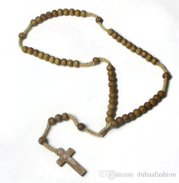 De madeira Frisada Cruz Pingente Charme Colar Cristão Jóias Religiosa Jesus Rosário Contas De Madeira Jóias
