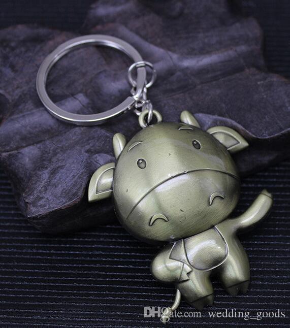 Retro zodiac zipper metal key ring animal model key pendant KR035 Keychains a