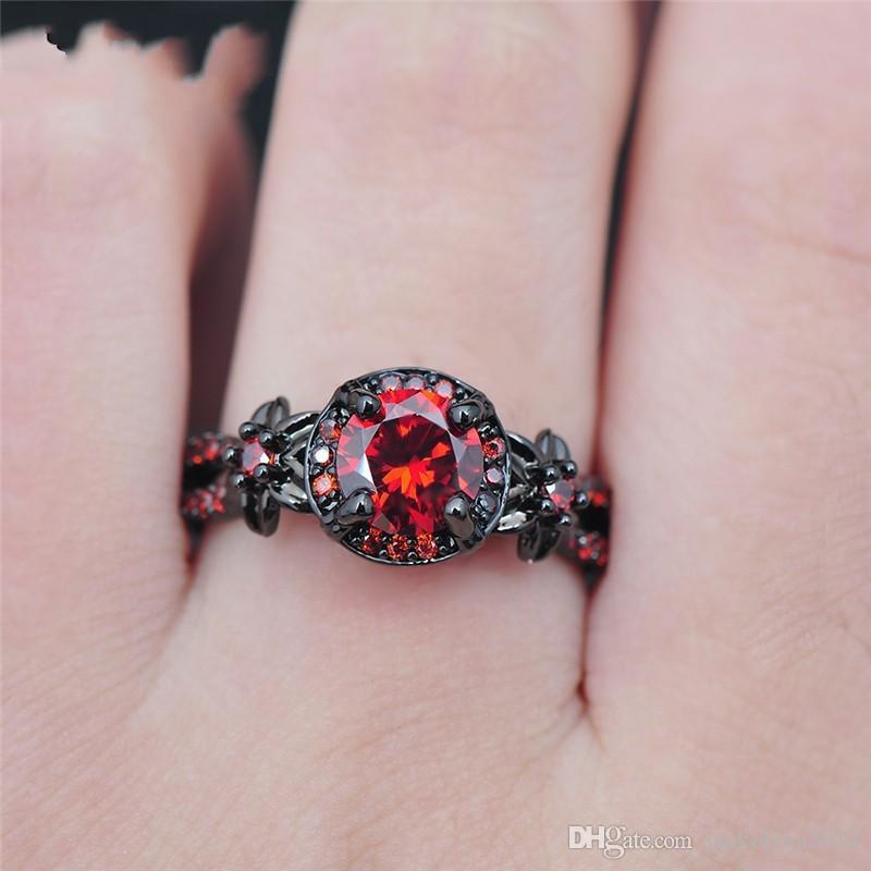 Victoria Wieck Retro Coole Schmuck 10kt Schwarz Gold Filled Rubin Simulierte Diamant Edelsteine Hochzeit Engagement Frauen Band Runde Ring Size5-11