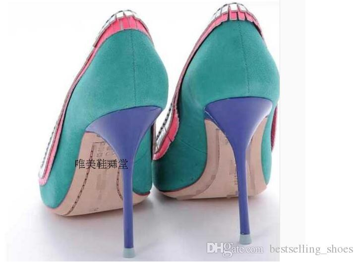 Star The same paragraph 2017 mixed color Fight fashion trend wild spring pointed toe women pumps