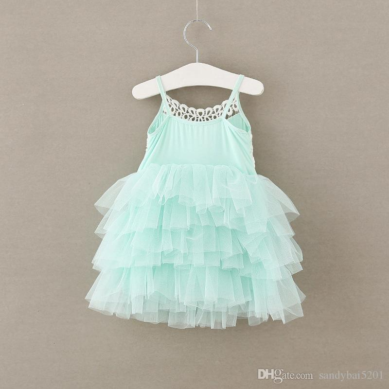 Kids Girls Lace Dresses 2017 Summer Baby Girl Floral Embroidey Dress Infant Princess Tulle Dress for Party Children Wholesale Clothing S520