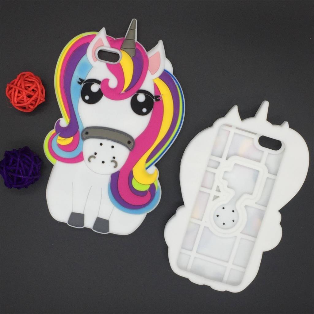 "New 3D Cartoon Rainbow Unicorn Case Soft Silicon White Horse Cover for Apple iPhone SE 5 5S 5C 6 6S 7 7S & Plus 5.5"" Rubber Case"