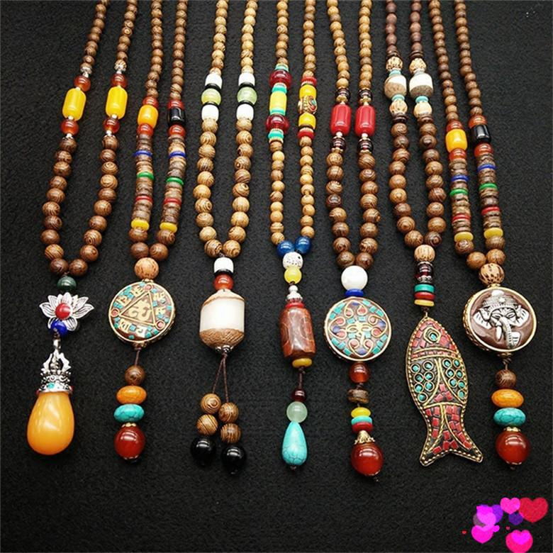 Wholesale 80 Cm New Design Nepal Wood Beads Necklaces