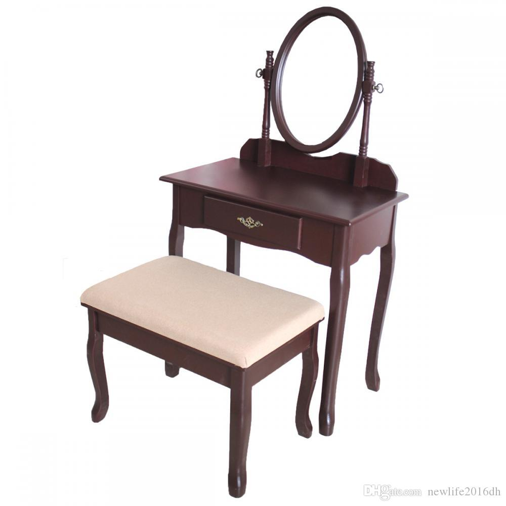 Cherry Wood Vanity Drawer & Mirror Dressing Table Jewelry Makeup Set