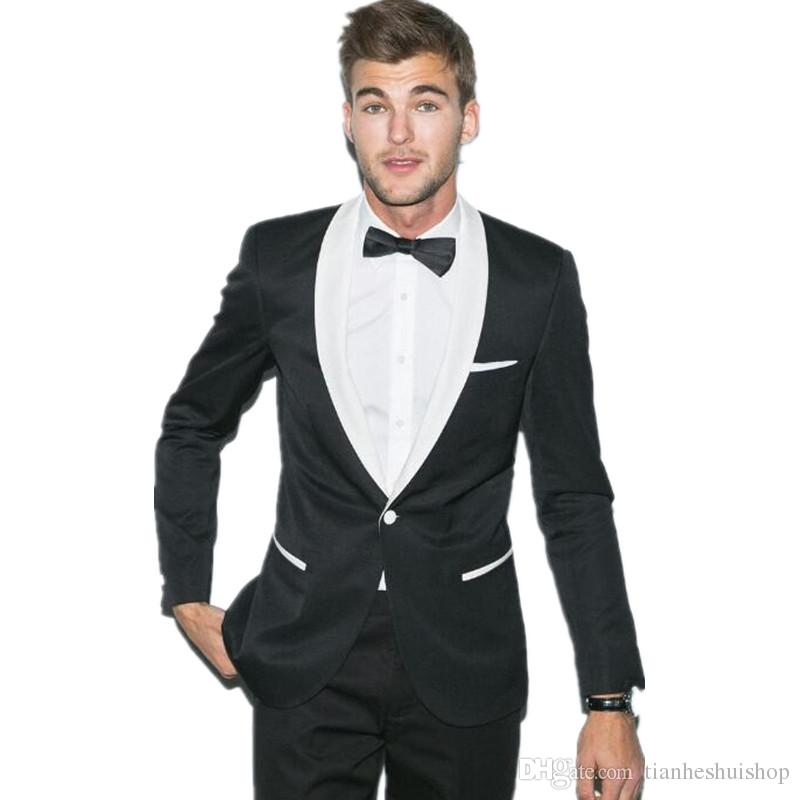 The latest design men's wedding suits tuxedo black jacket with white collar custom made suits men groom wear suitsjacket+pants