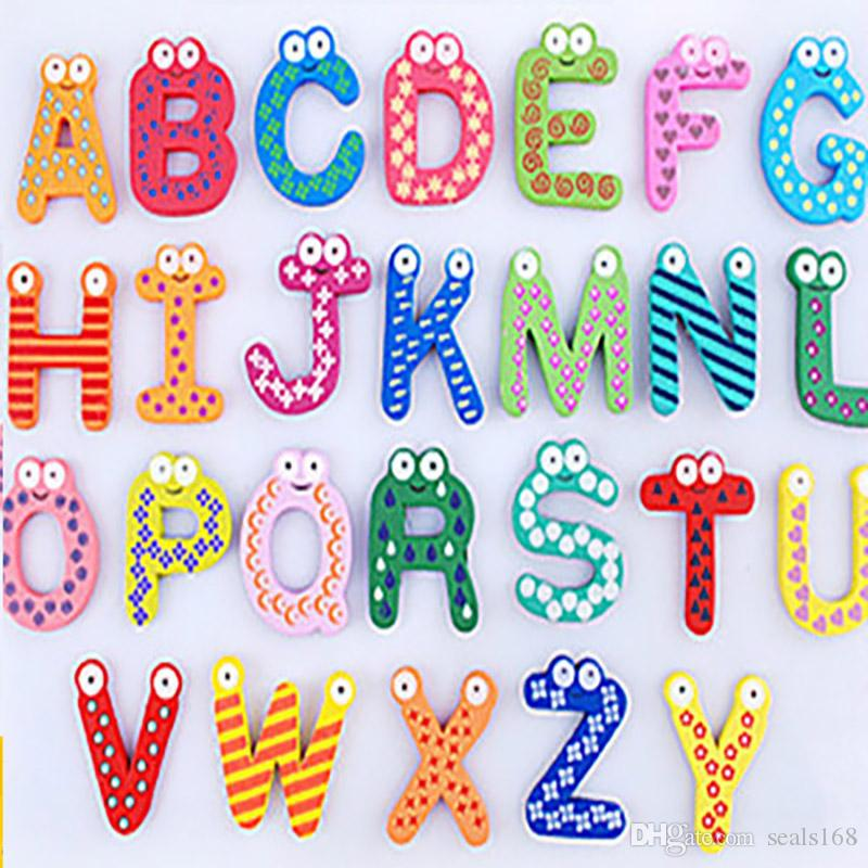 Words Fridge magnets Children Kids Wooden Cartoon Alphabet Education Learning Toys Adult Crafts Home Decorations Gifts HH-F02