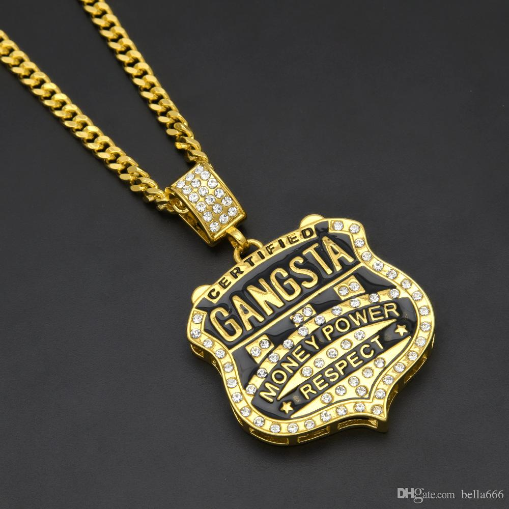 Gorgeous Jewelry GANGSTA Medal Shield Hip Hop Pendant Alloy Bling Rhinestone Badge Gold Plated Rapper Pendant Necklace 5mm Cuban Chain