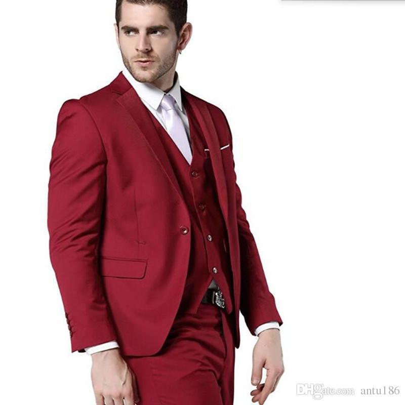 Red ternos mais recente casaco e calça design noivo ternos smoking personalizado lapela um botão ternos de casamento jaqueta + colete + calça