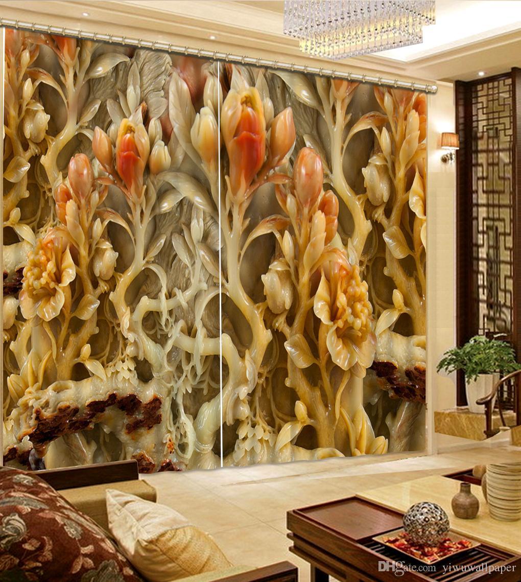 Décoration du foyer de vie Relief en marbre d'art naturel Chambre fleur sur mesure rideau rideaux de fenêtre de mode