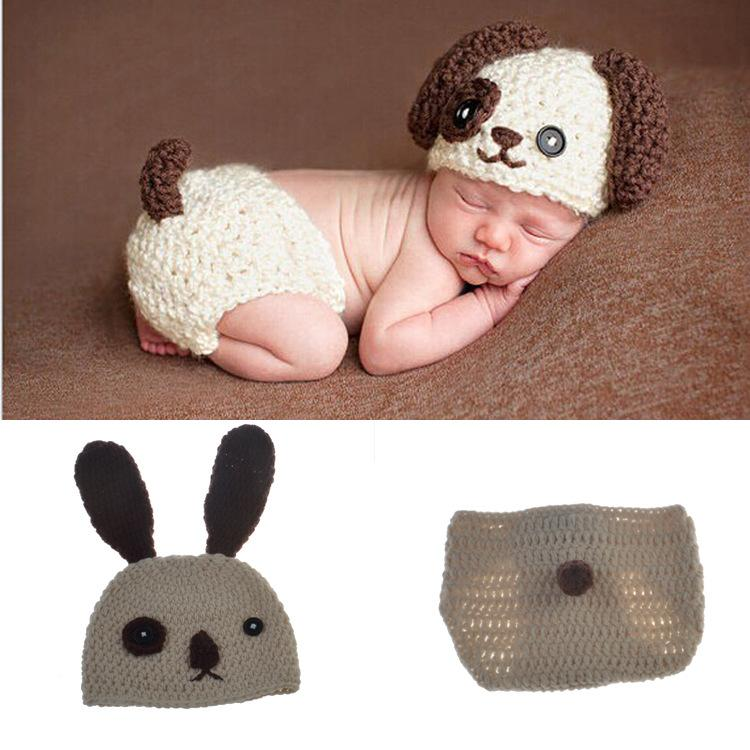 eed14c31385c Baby Infant Dog Crochet Knit Cap Costume Prop Baby Knitted Photography Prop  Newborn Hats Pants Puppy Dog Costume BP047 Halloween Costume For Four 5  Person ...