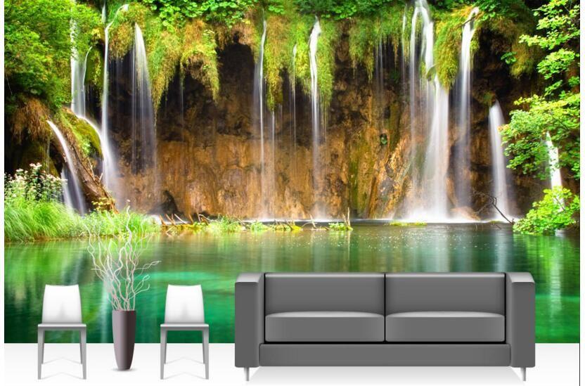 3d room wallpaper custom photo mural Green hd waterfall lake landscape picture decor painting 3d wall murals wallpaper for walls 3 d