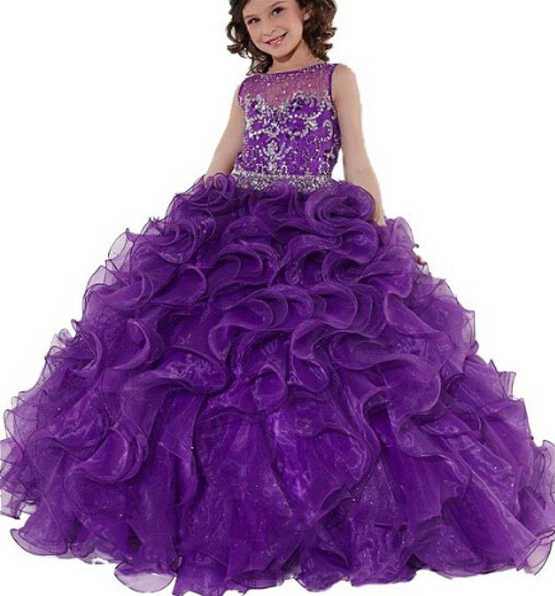 الأرجواني الأميرة الفتيات الطابق طول الكرة أثواب الزهور الاطفال الكشكشة فساتين مهرجان مخصص الأورجانزا فستان مرصع بالجواهر