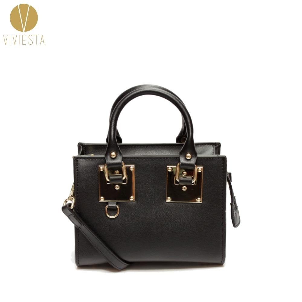 e684081d0477 Wholesale GENUINE REAL LEATHER METAL PLATE MINI BOX TOTE BAG Women S 2016  Fashion Trend Gold Small Shoulder Crossbody Bag Purse Handbag Ivanka Trump  ...