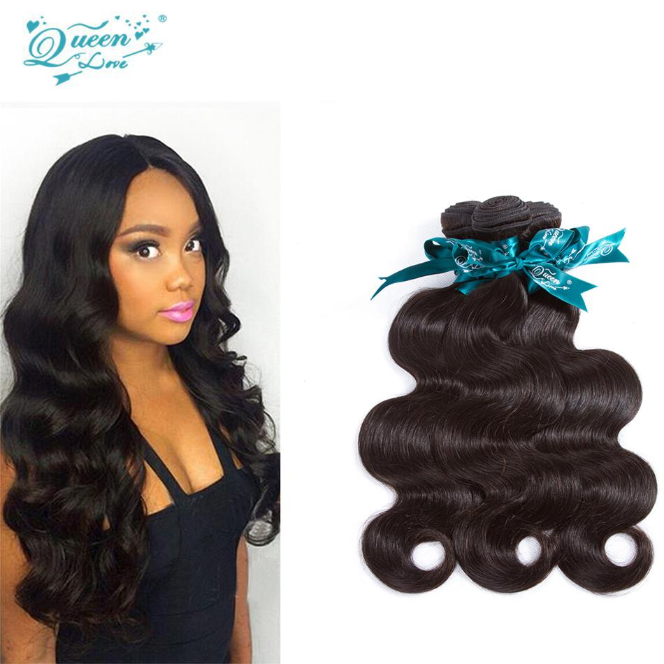 Queen Love Human Hair Bundles Brazilian Body Wave 100% Hair Extensions Natural Black Hair Weave 3 Piece Only 8-30 Inches