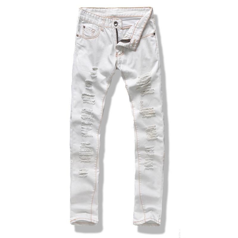 Compre Al Por Mayor Hombres Jeans Blancos Diseñador Slim Fit Ripped ...