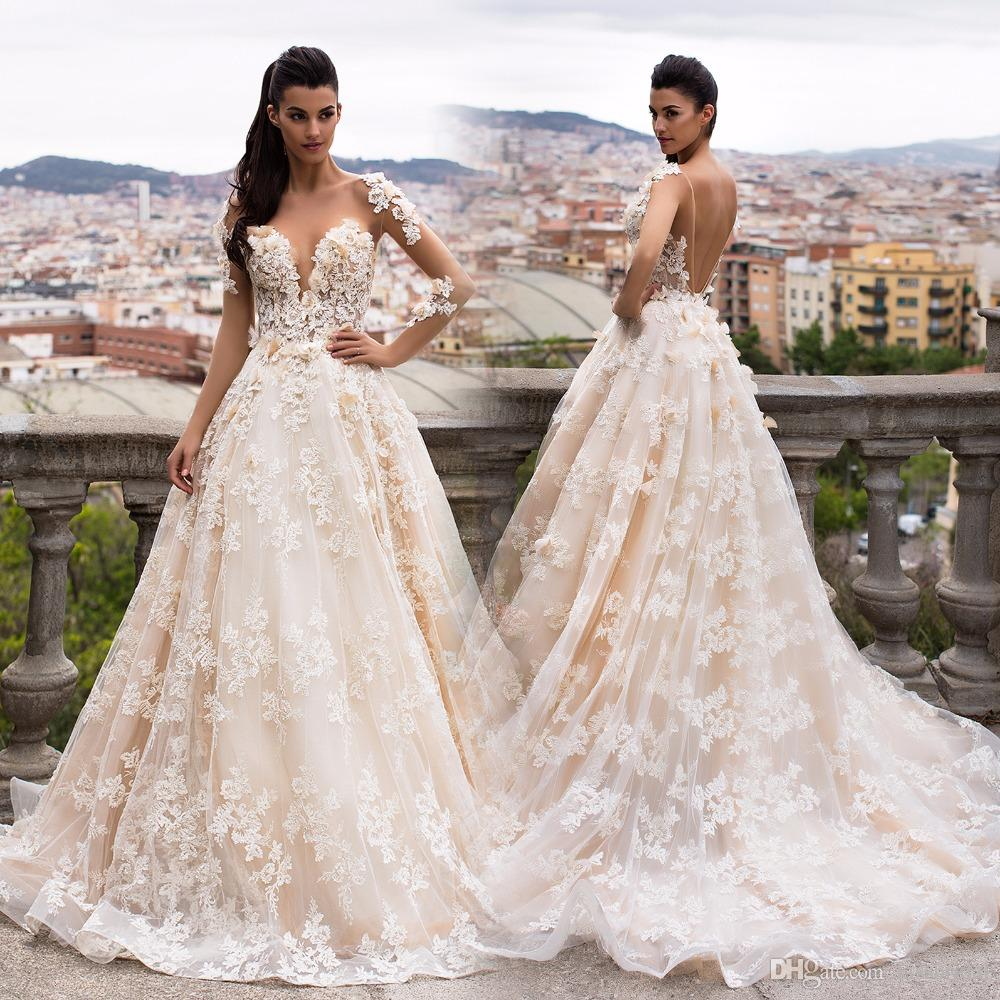 22f88863047 Dubai 3D Floral Appliques Lace Wedding Dresses 2017 Vintage Champagne  Illusion Nude Long Sleeves Backless Ball Gown Lace Bridal Gowns Big Ball Gown  Wedding ...