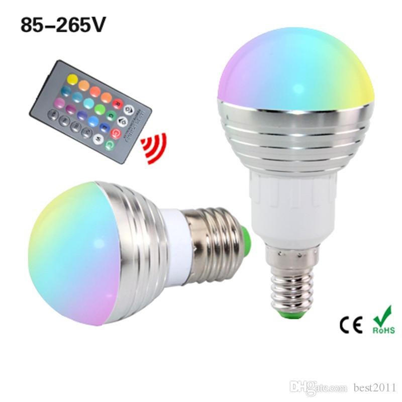 E27 E14 LED RGB Ampoule Lampe AC85-265V 3W 5W 7W LED RGB Projecteur Dimmable magique éclairage RGB + Vacances télécommande IR 16 couleurs
