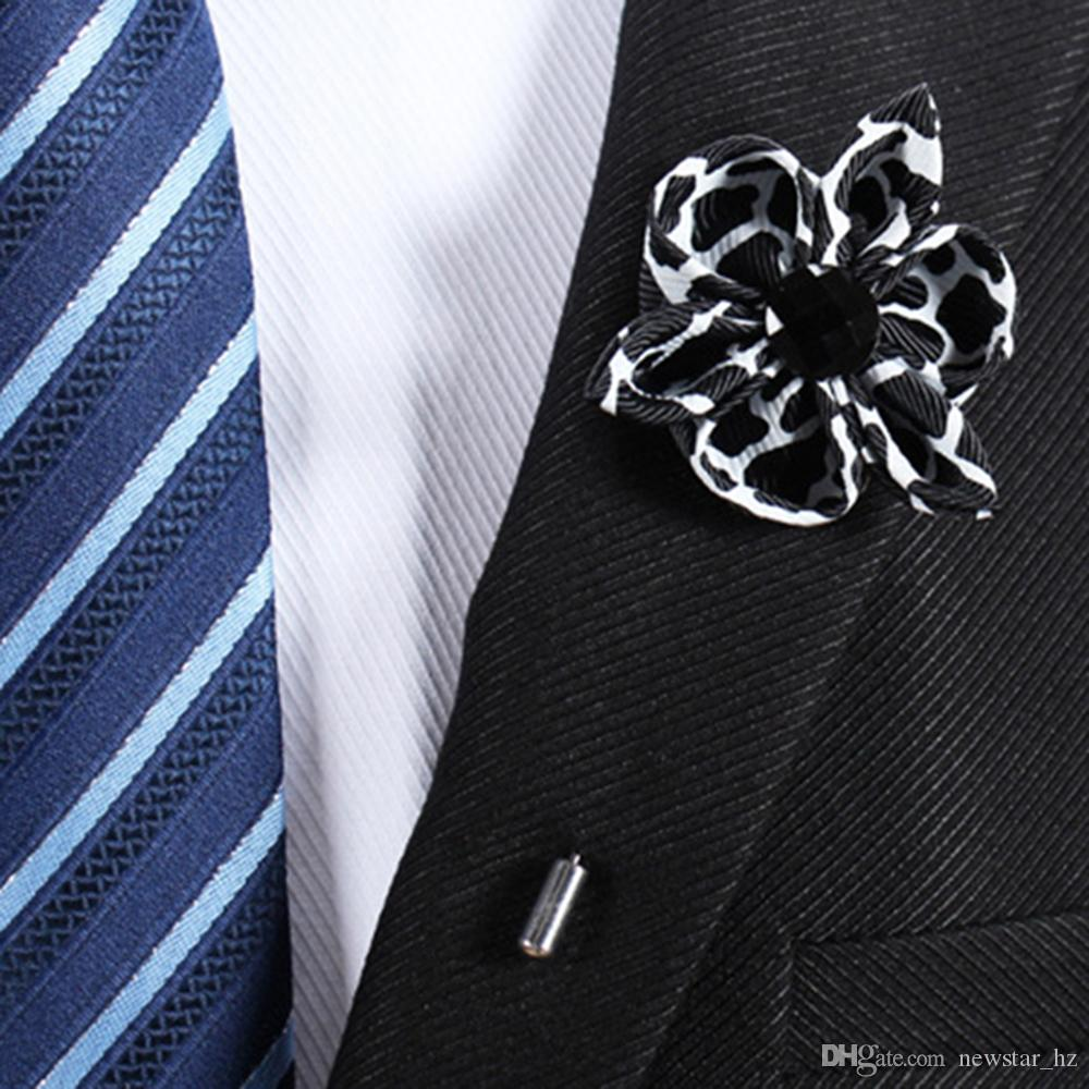 Unisex Lapel Flower Brooches Pins Handmade Corsage Boutonniere Stick Brooch Pin Wedding Anniversary Xmas Party Tuxedo Suit Ornament