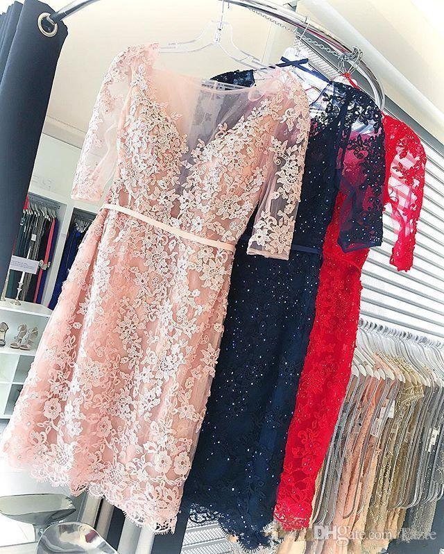 Pink Red Lace Crystal Short Cocktail Prom Dresses with Sleeves Fashion Crew Backless Knee-length Homecoming Party Gowns Cheap