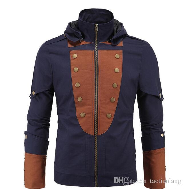 5XL Plus Size Assassin's Creed Hoodies Jacket Stand Collar My Tribe Faux Mens Leather Business Outwwear Winter PU Men Motorcycle J16103
