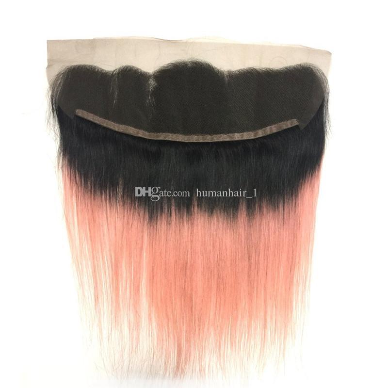 Rose Gold Hair Bundles mit 13 * 4 Lace Frontal Verschluss 1b
