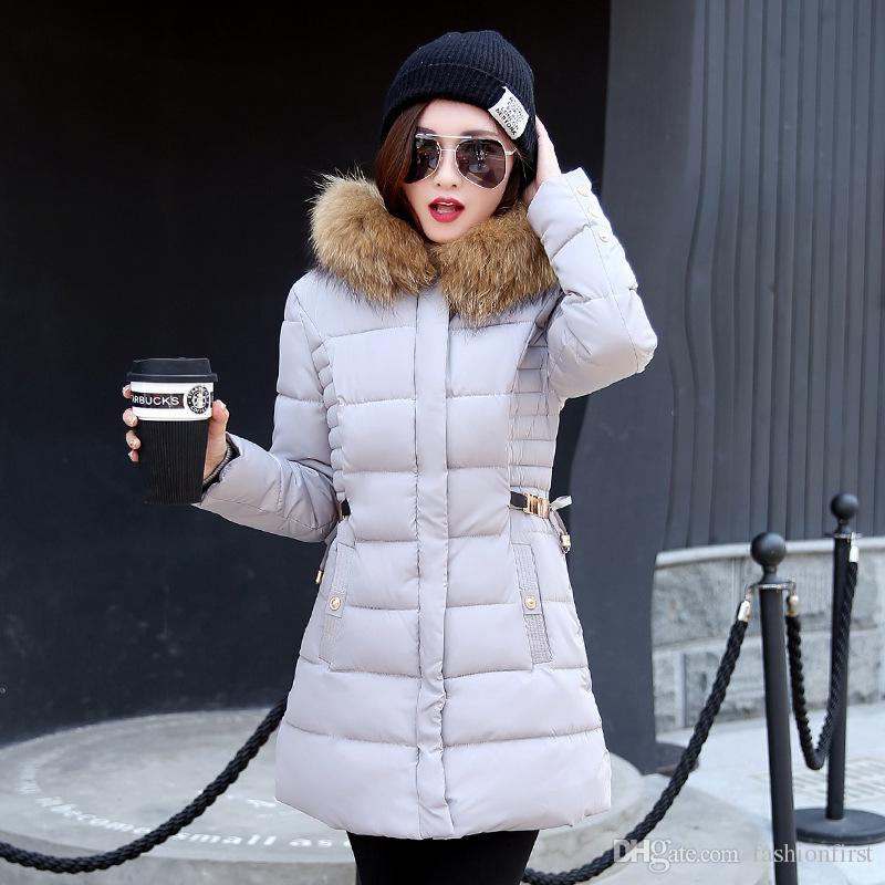 39e5c6a8ea2 2019 Fashion Slim Tunic Zipper Puffer Feather Jacket Black Red Pink Gray For  Women Clothing Long Down Coat With Faux Fur Hood From Fashionfirst