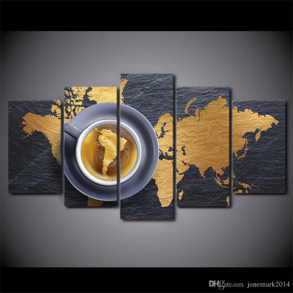 5 Teile / satz Gerahmte HD Gedruckt Kaffee Weltkarte Moderne Home Decor Poster Leinwand Kunst Malerei Wandbilder