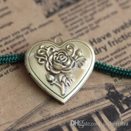 29*7MM DIY Silver/antique bronze/rose gold/black gun heart photo locket charm jewelry, rose flower metal picture frame pendants wish box