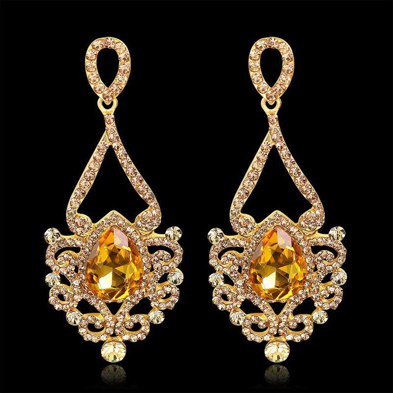 Kristal Uzun Asılı Küpe Kartal damla gül altın Gümüş Renk Rhinestone Gelin Düğün Dangle Küpe Takı Bırak Gemi 170772