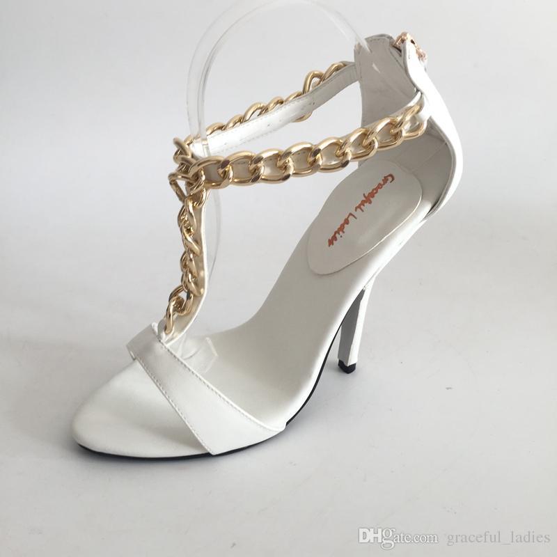 Weiße T-Band Schuhe Hochzeit Sandale Offene Zehe High Heels Knöchel Kette Sommer Sandalen High Heel Schuhe Braut Plus Größe EU34-46 Custom Farben