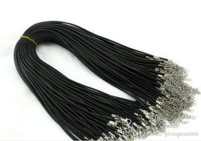 Epack free 1.5mm Catene di cera nera Collana di serpente di cuoio che borda il cavo Corda di corda 45cm + 5cm Catena di prolunga con chiusura di aragosta FAI DA TE