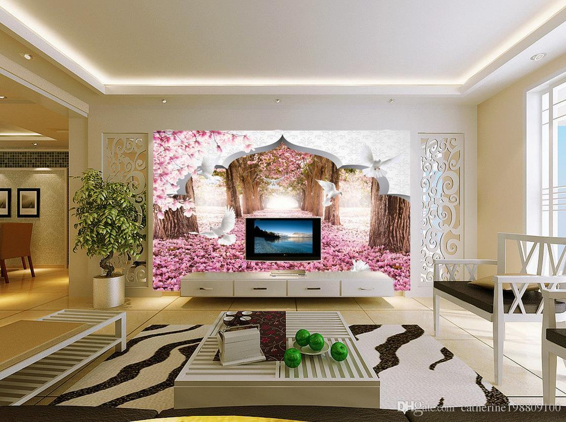 New Custom Beautiful mural 3d wallpaper 3d wall papers for tv backdrop 3d cherry white pigeon