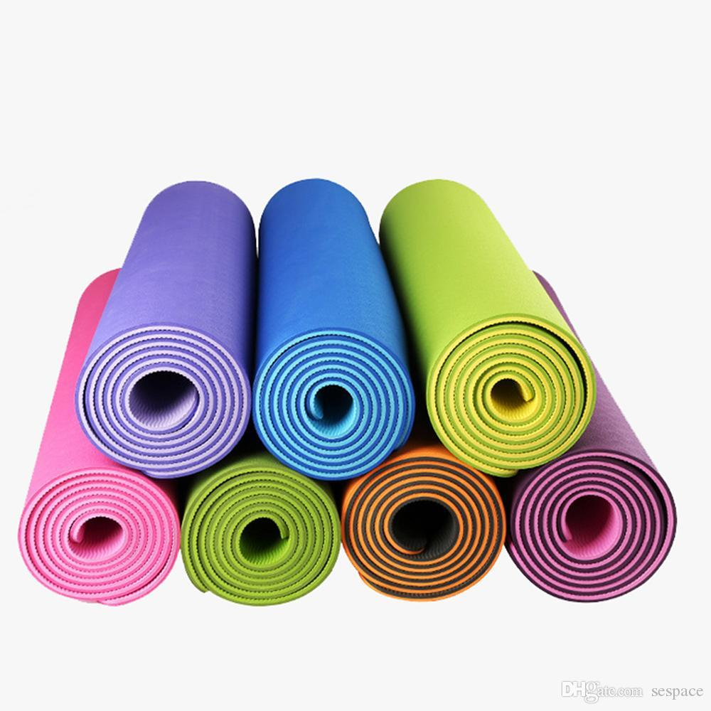 eb6dc50044 2019 Wholesale 6mm Non Slip TPE Exercise Fitness Yoga Mat Eco Friendly Gym  Sport Cushion Body Building Yoga Blanket Pad 183 62 0.6 Cm From Sespace