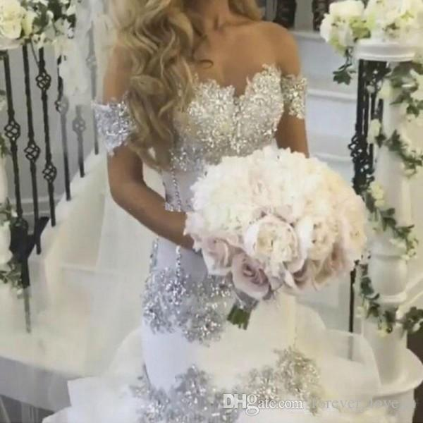 Sexy Off the Shoulder Illusion Mermaid Wedding Dress Sparkly Beaded Crystals Silver Lace Appliques Fit and Flare Bridal Gowns Ruffled Skirt