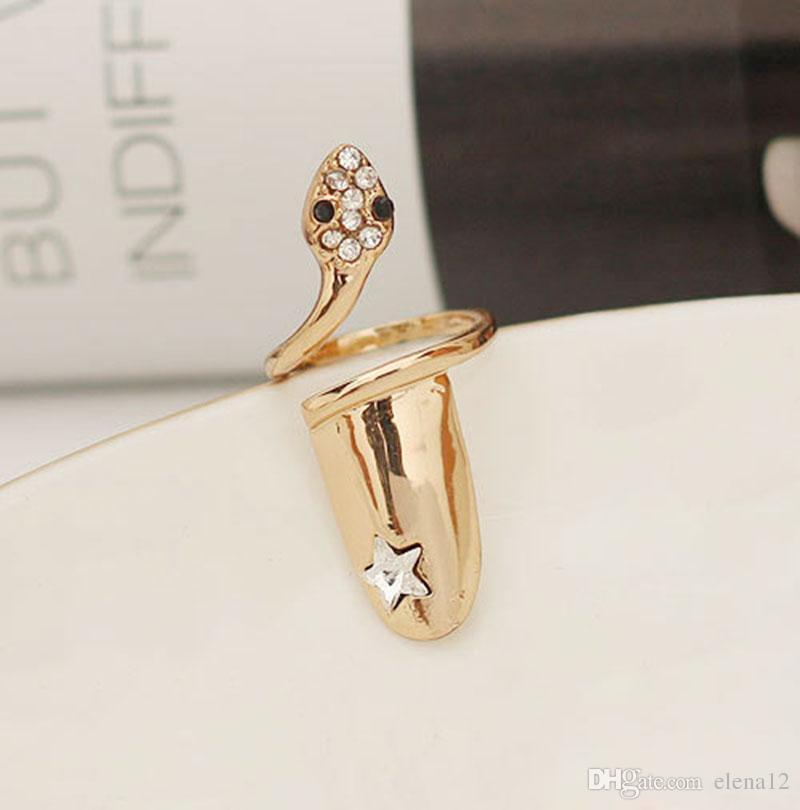 Exquisito lindo retro reina libélula diseño rhinestone ciruela serpiente oro / anillo de plata dedo anillos de uñas 080016