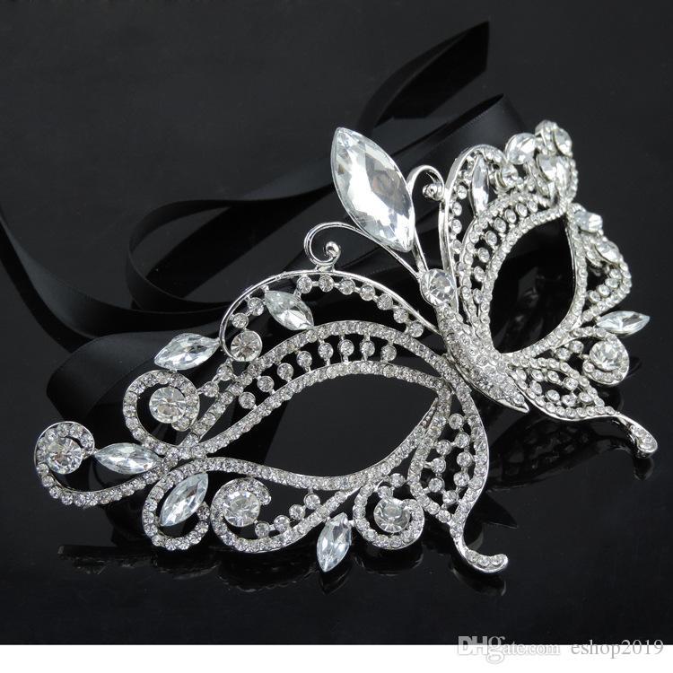 2017 Ton Argent Vénitien De Mariée Mascarade Strass Cristal Masque Pour Les Yeux Halloween Fantaisie Dress Ball Party Masque