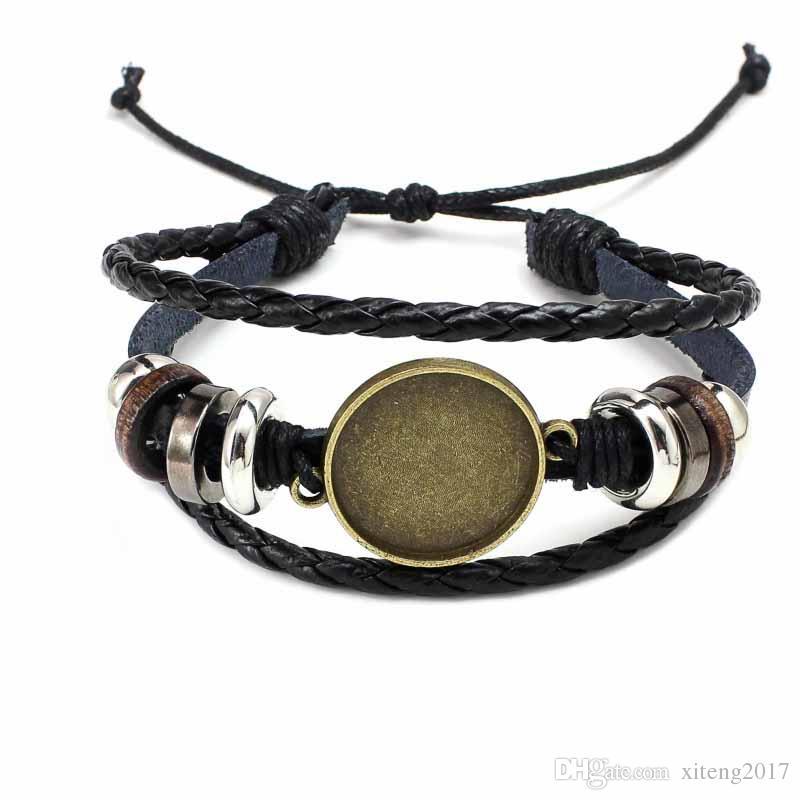 Gioielli di moda fai da te multi strato braccialetto in pelle braccialetto in bianco misura base 20 millimetri rotonda foto in vetro cabochon impostazione castone vassoio creazione di gioielli