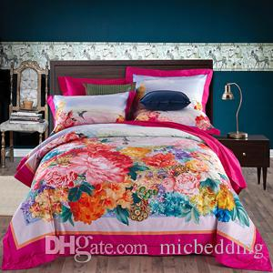 Beautiful Digital Printing Hometextile Bed Sheet Bed Linen Four Pieces Bedding Set  100% Cotton Fabric,thigher Thread Count Flower Designs Green Colo Digital  Designs ...