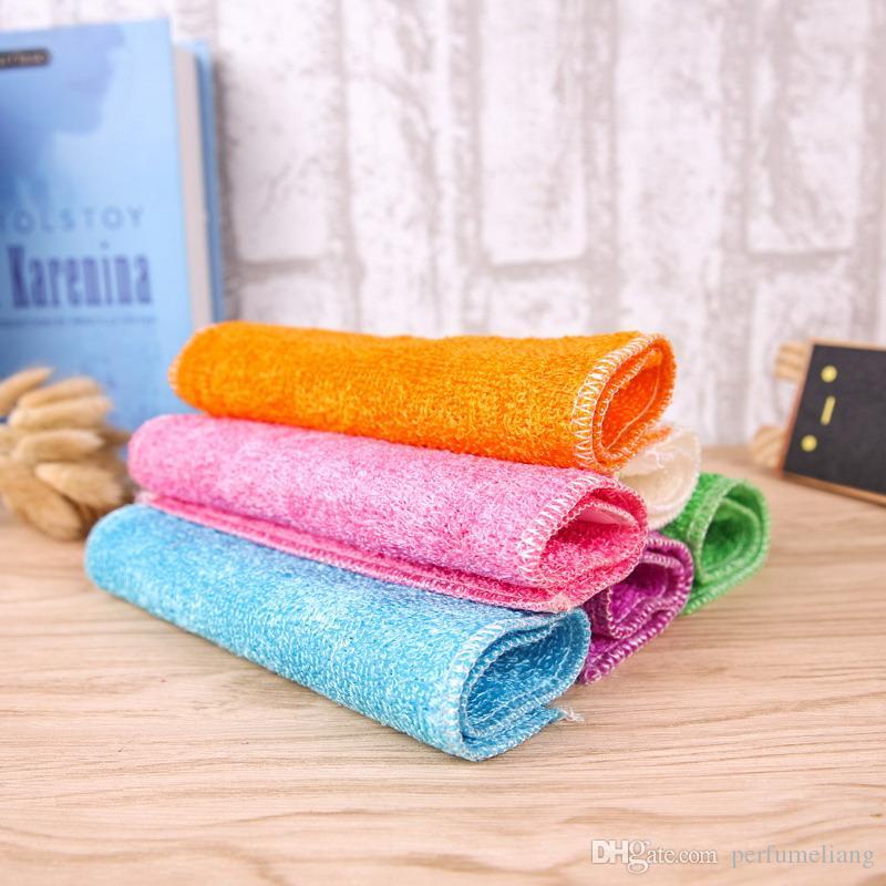 High Efficient Anti-grease Dish Cloth Bamboo Fiber Washing Towel Magic Kitchen Cleaning Wiping Rag S201774