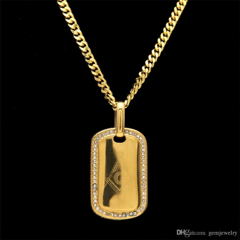 Mens de Aço Inoxidável Cor de Ouro Dog Tag Cartão Militar Do Exército Pingente Maçônico Moda Punk Jóias Hip hop Colar Cadeia