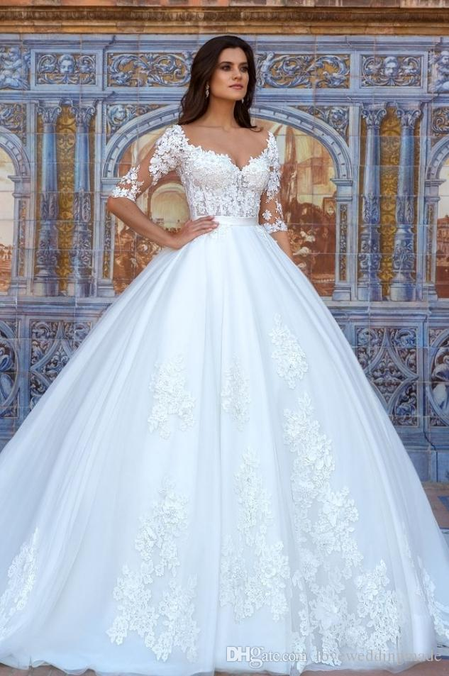 Glamorous Ball Gown Wedding Dresses Applique Lace Half Sleeves ...