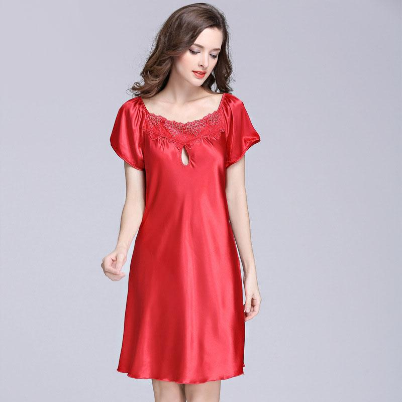 3acc04f5eb Wholesale Summer Sleep Dress Faux Silk Satin Robe Women Lace Nightgown  Sleepwear Night Dress Plus Size Sleepshirt Chemise De Nuit SY026 07 UK 2019  From Peay ...