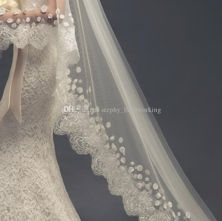 Perfect White Bride Veil with Lace Edge Luxury Wedding Veils Three Meters Long Veils Lace Appliques Two Layers Cathedral Length #003