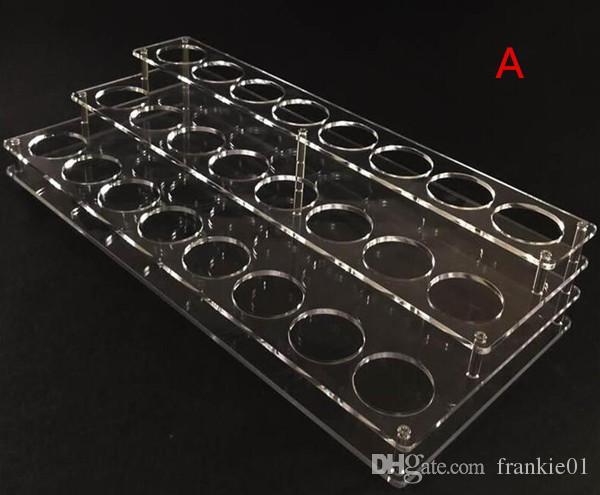 visualización e acrílico líquido se destacan 42mm agujeros para el nuevo producto caliente e soporte para botellas de líquido 60 ml 50 ml 30 ml vaporizador botella eJuice