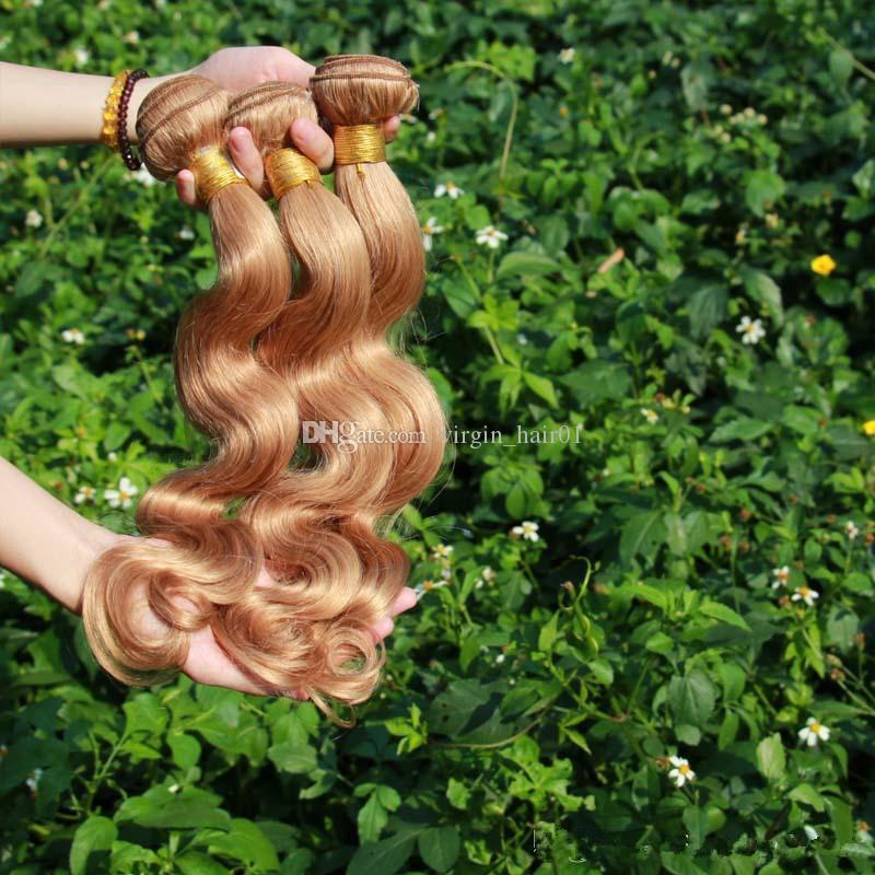# 27 허니 블론드 바디 웨이브 브라질 3 번들 브라질 인간의 머리카락 빛 갈색 버진 헤어 번들 페루 인간의 머리카락 확장 판매