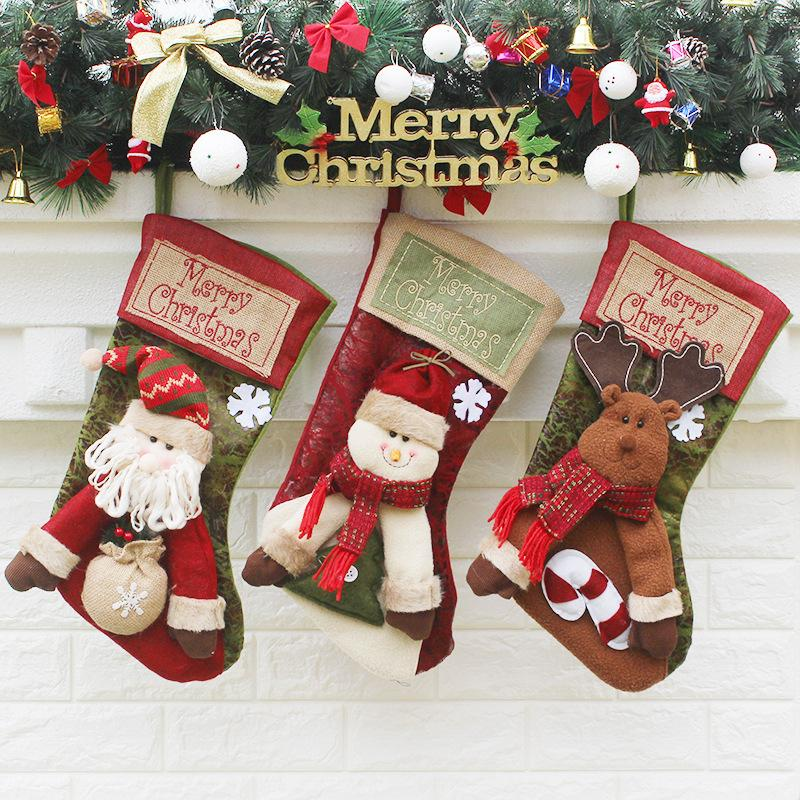 the new christmas socks gift bags christmas decorations large luxury christmas stockings gift candy socks home decor christmas home decor for christmas from