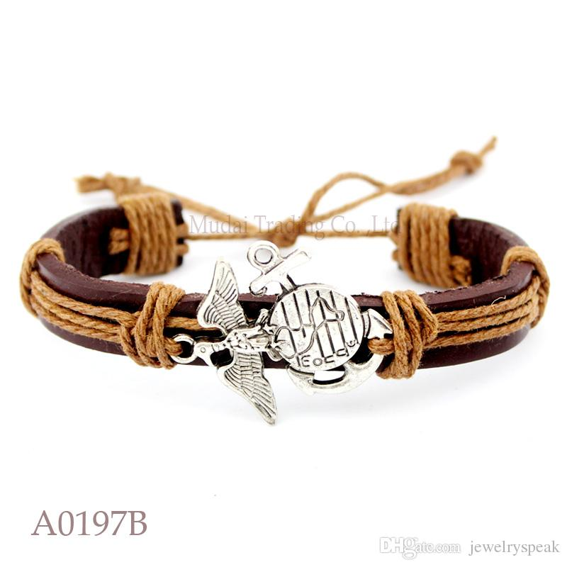 Wish Bracelet ANTIQUE SILVER United States Marine Corps CHARM Adjustable Leather Cuff Bracelet Friendship Casual Jewelry